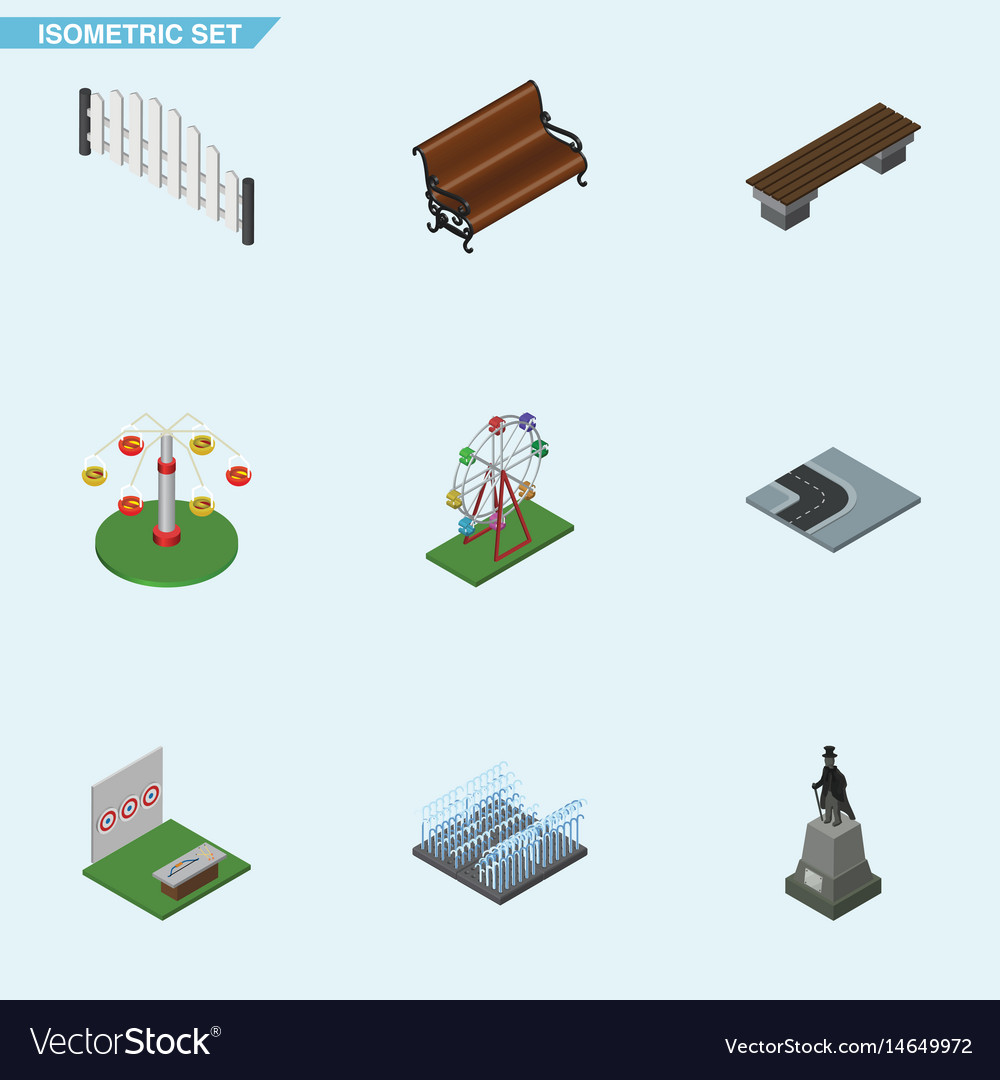Isometric city set of aiming game bench swing