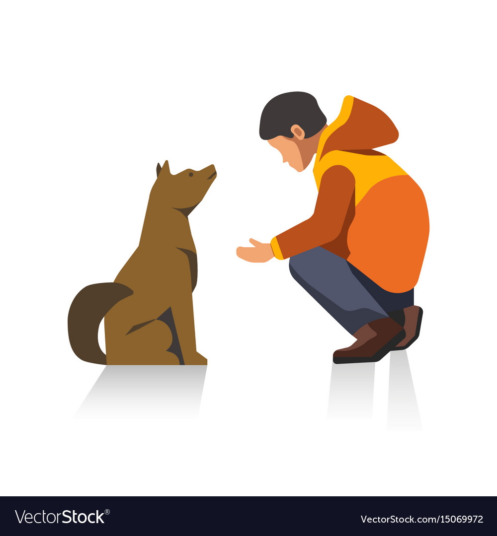 Man in jacket and dog cartoon characters isolated