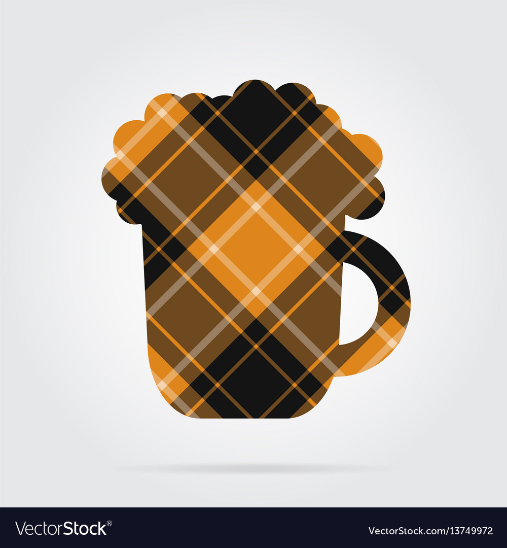 Orange black tartan isolated icon beer with foam