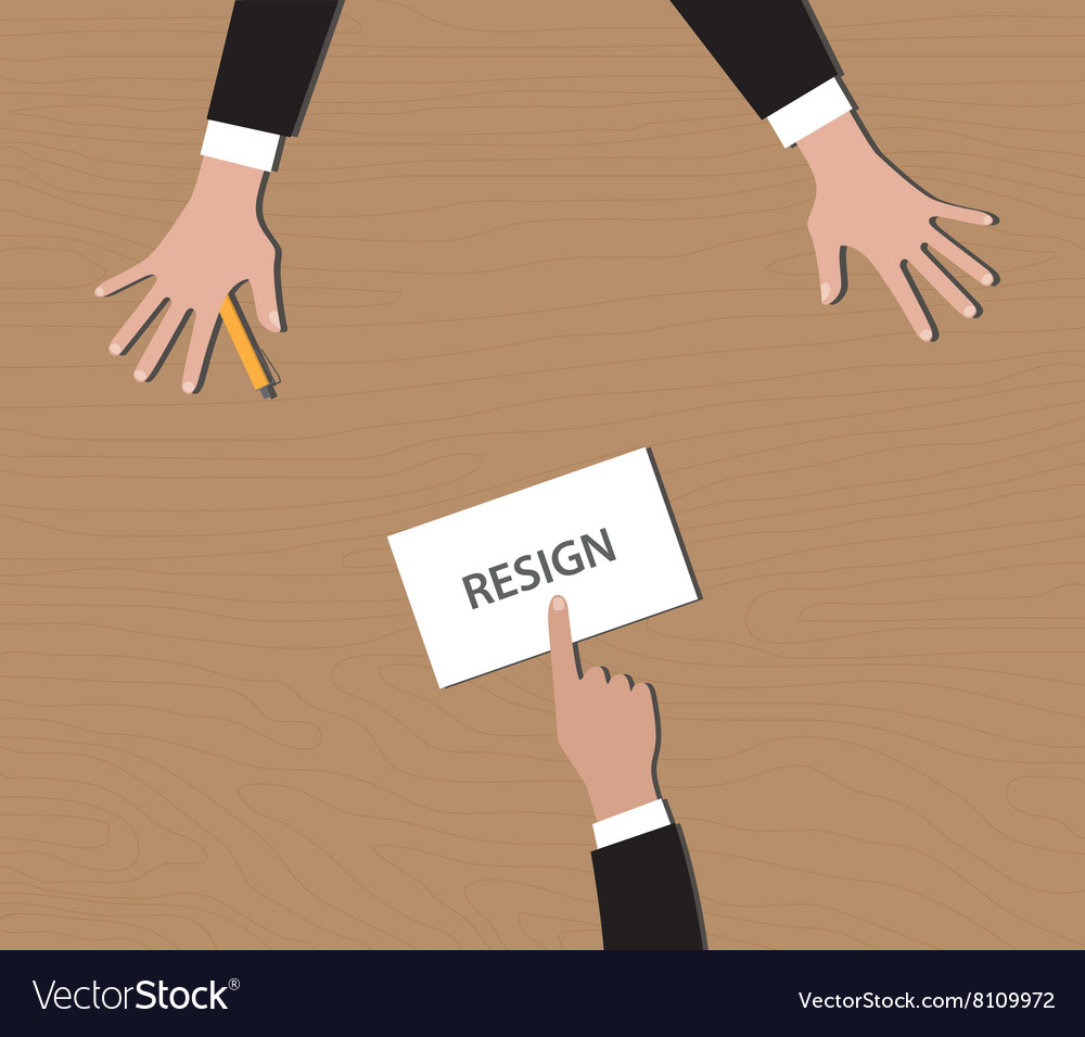 Resignation give resign letter to bos vector