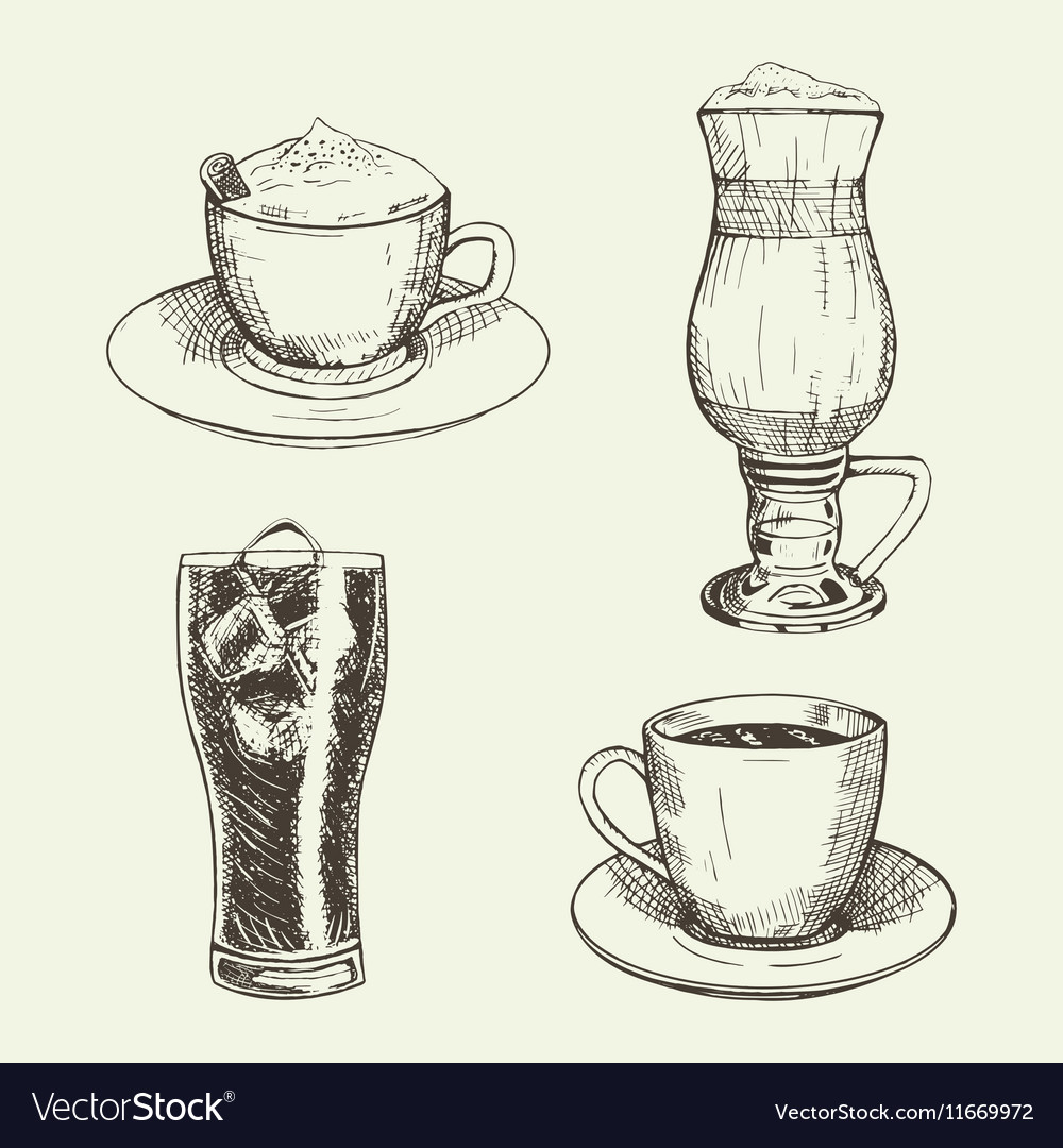 Set of graphic drinks include cup of cappuccino