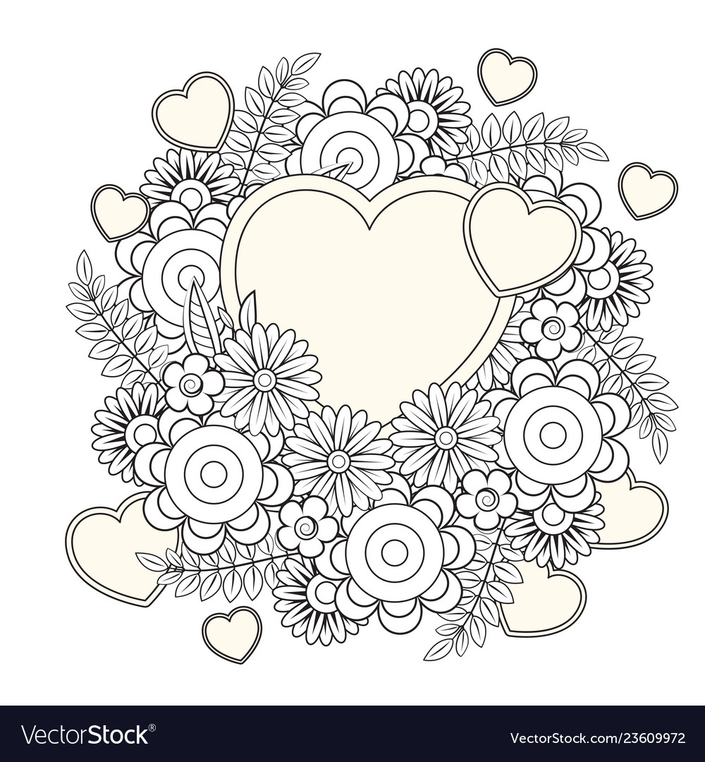 - Valentines Day Coloring Page Royalty Free Vector Image