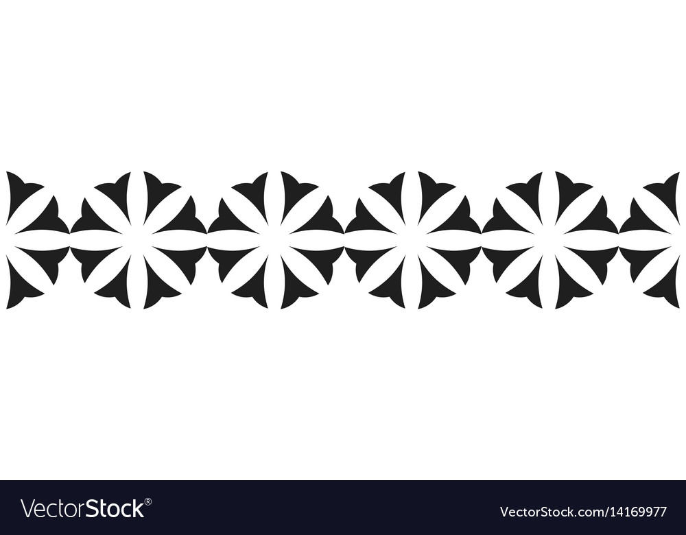 Border of black flowers for decoration vector image