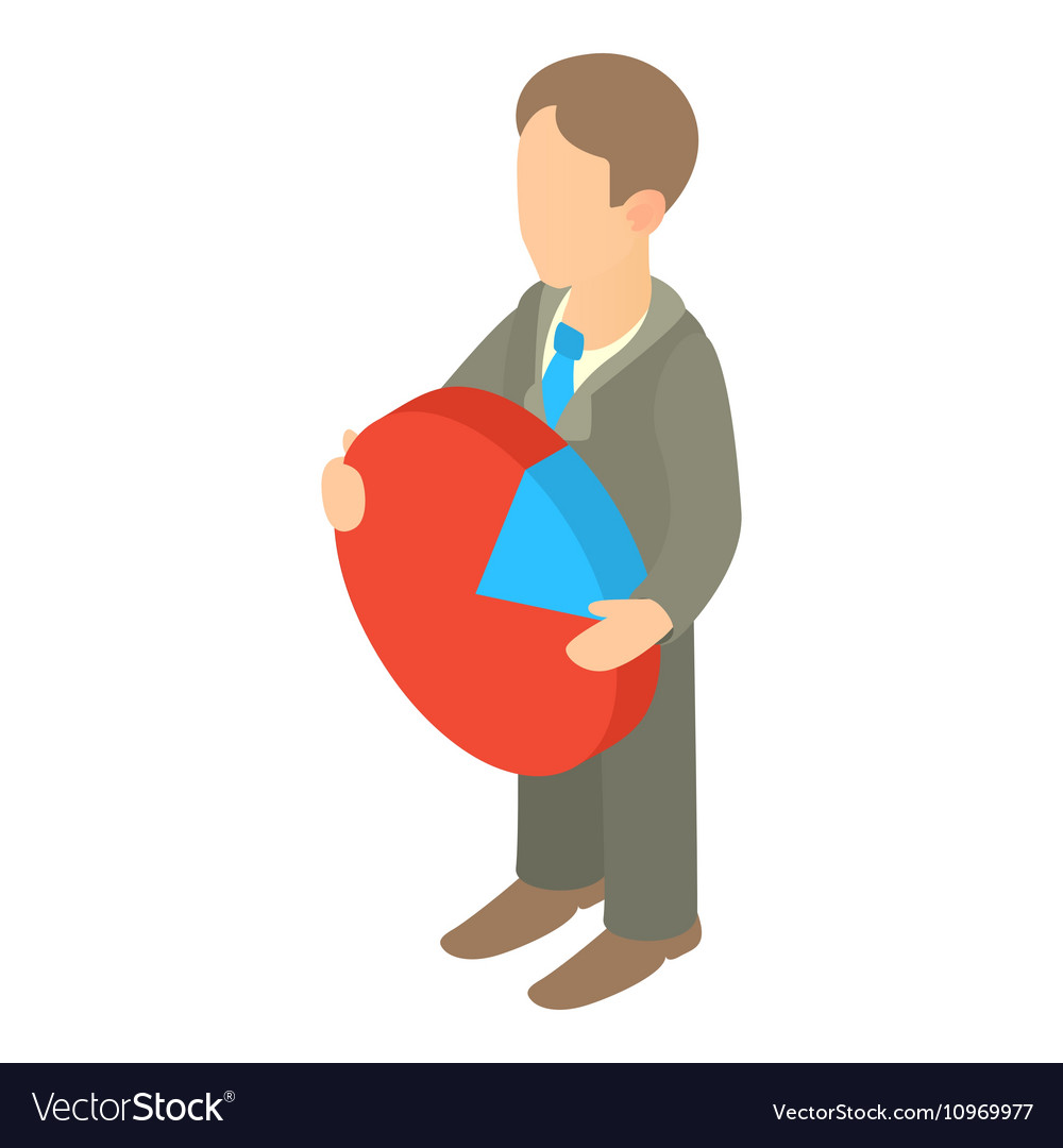 Businessman Holding Pie Chart Icon Cartoon Style Vector Image