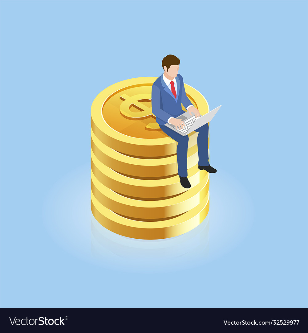 Businessman sitting on gold coins isometric