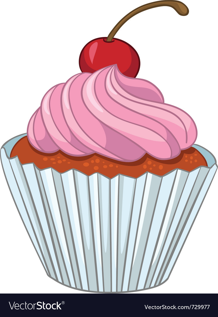 cartoon food sweet cupcake royalty free vector image rh vectorstock com cartoon cupcake pictures chocolate cupcake cartoon pictures
