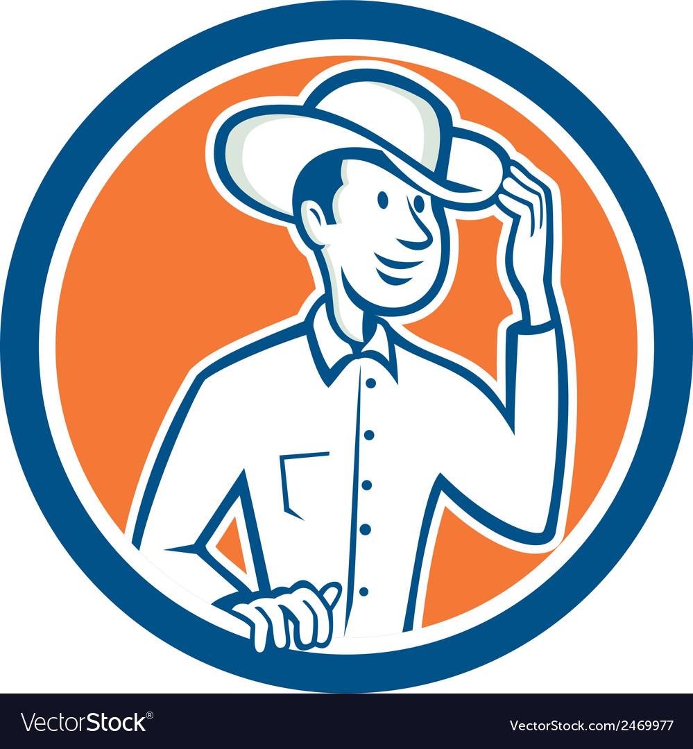 Cowboy Tipping Hat Circle Cartoon