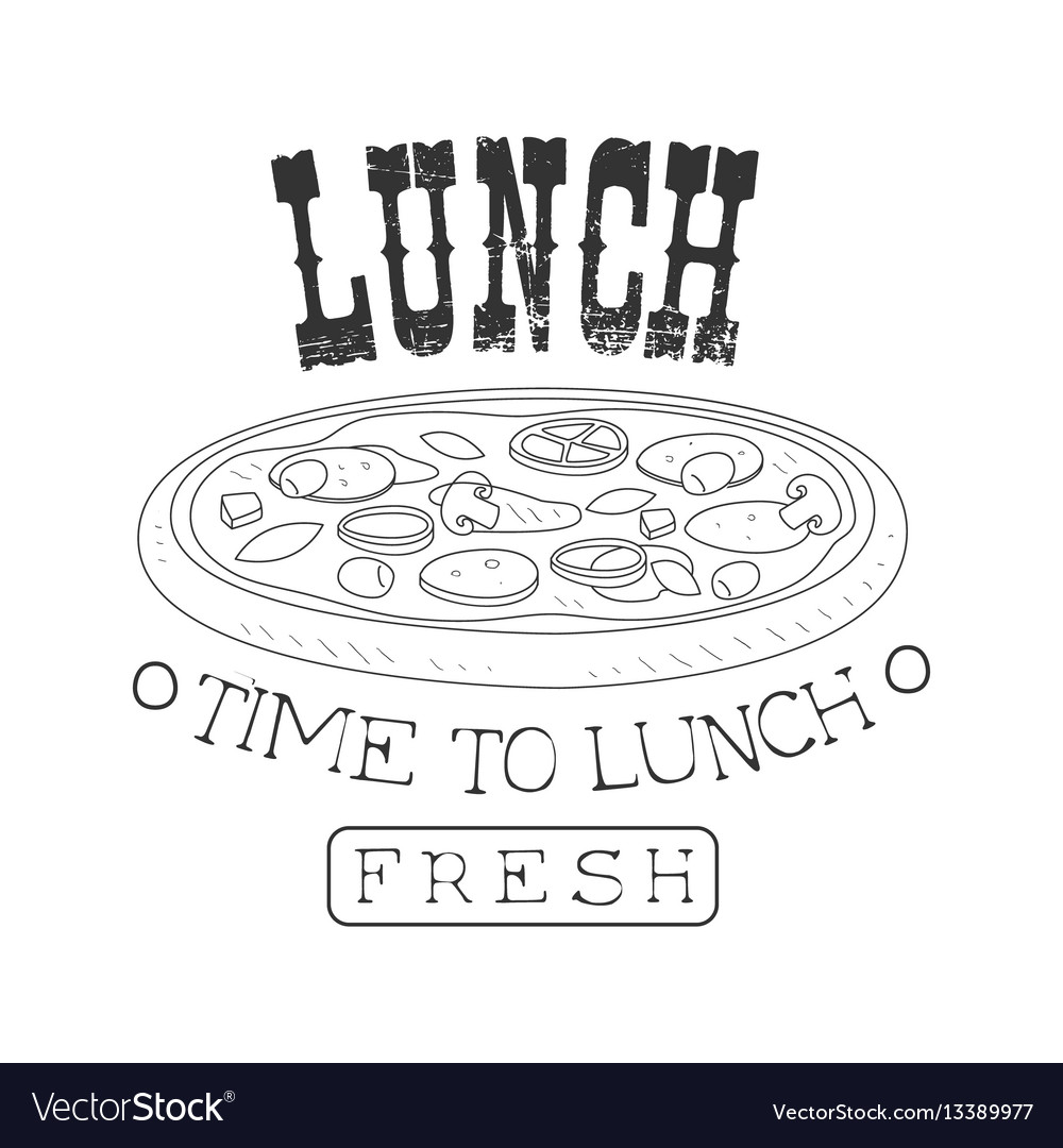 Fresh cafe lunch menu promo sign in sketch style