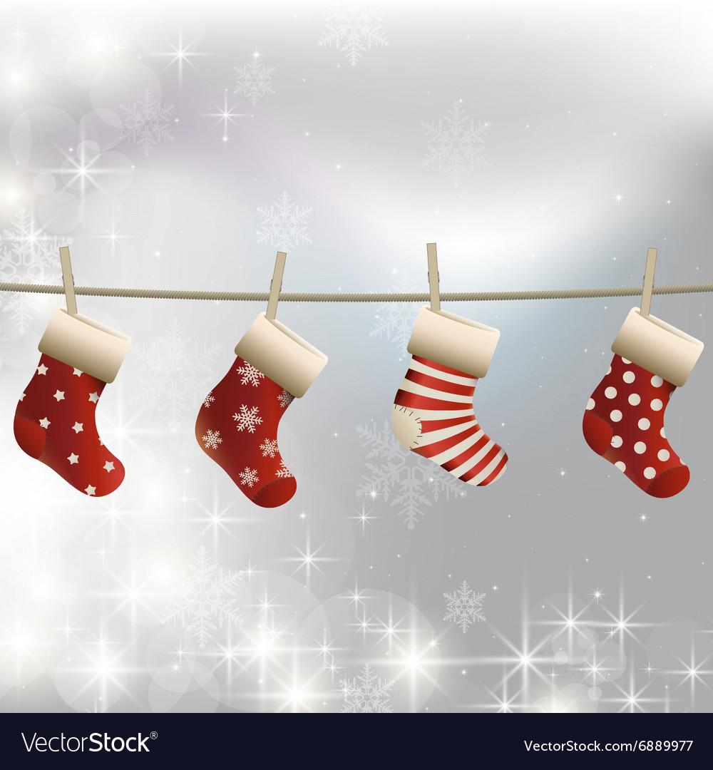 Hanging Christmas Socks On A Clothesline