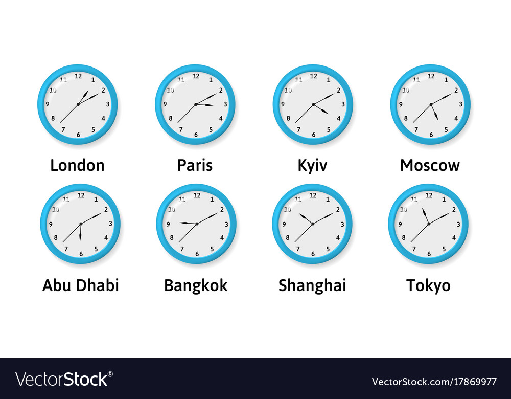 Illlustration Of Time Zone Wall Clocks Royalty Free Vector
