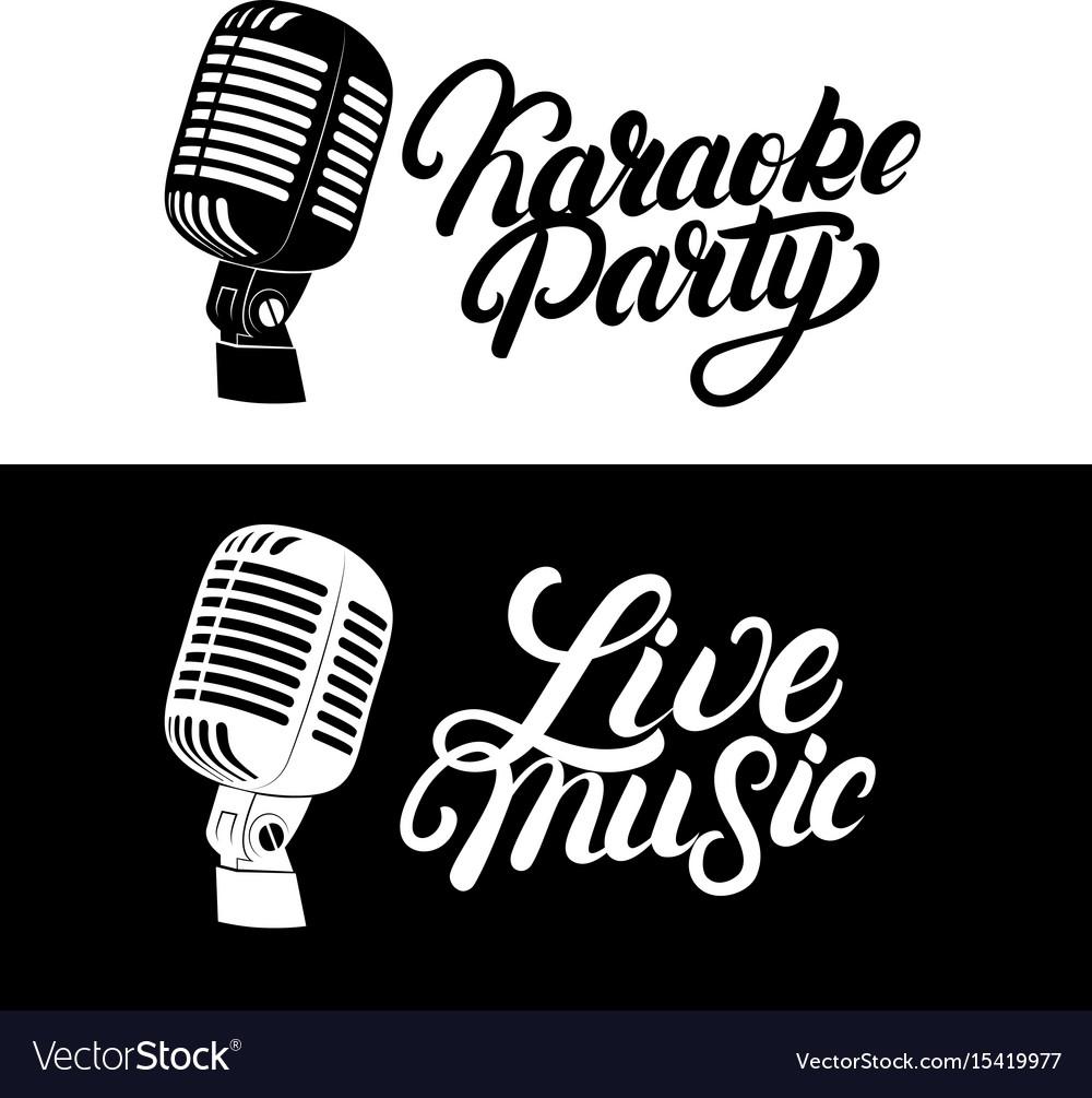 Karaoke hand written lettering logo emblem with