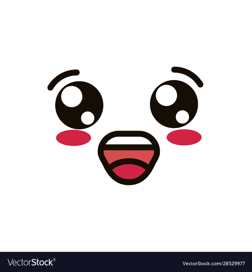 Kawaii Cute Face Expression Eyes And Mouth Happy Vector Image