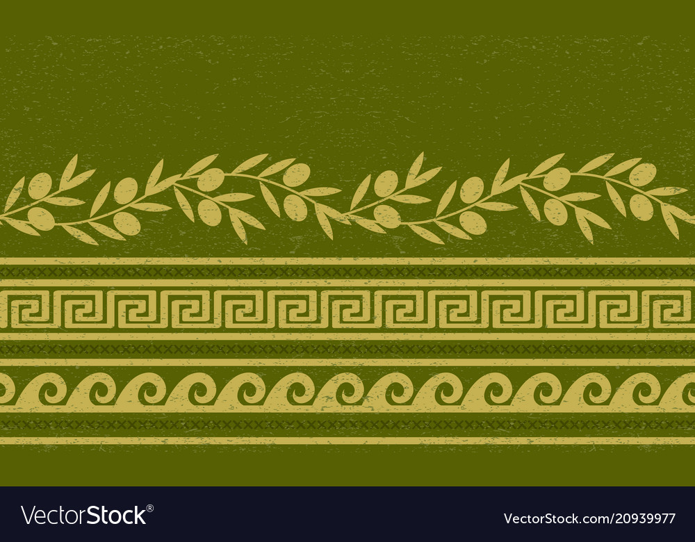 Seamless pattern with olives wheat and greek vector image