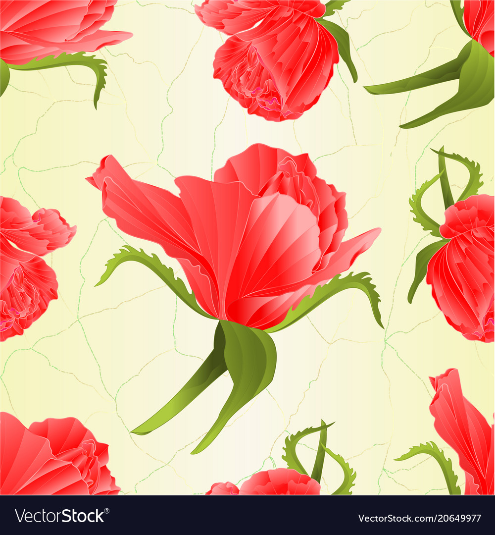 Seamless texture pink rose and leaves vintage