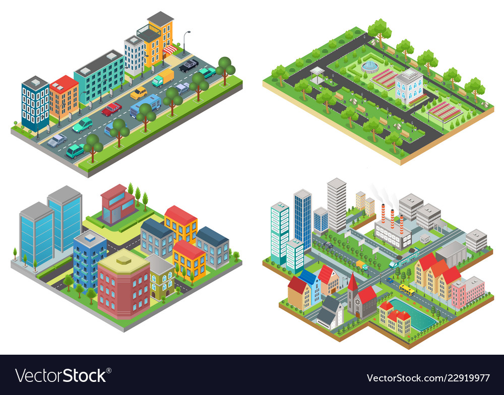 Set of isolated 3d isometric realistic cartoon