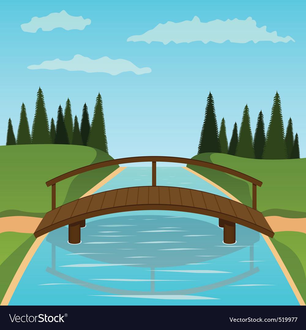 Small wooden bridge vector image