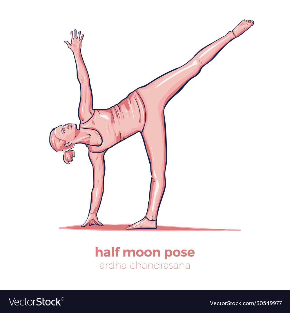 Yoga half moon pose ardha chandrasana asana