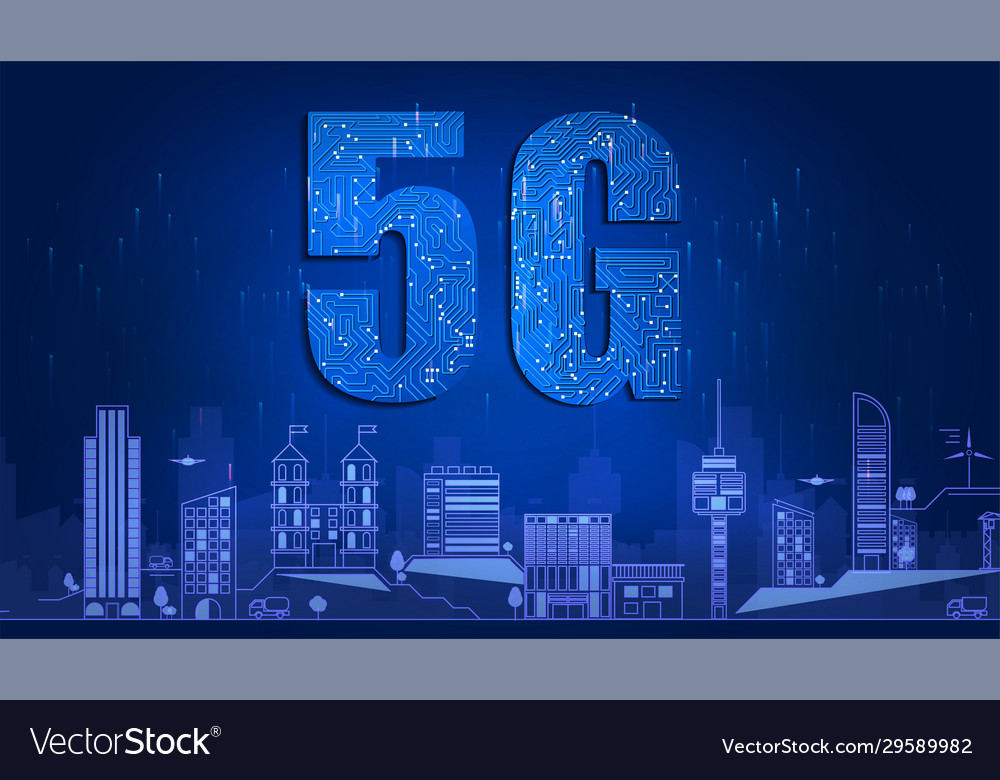 5g technology with circuit board is background 5g