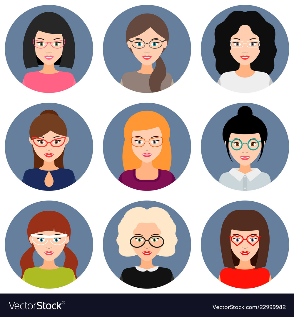 Avatars of girls and women with glasses set of