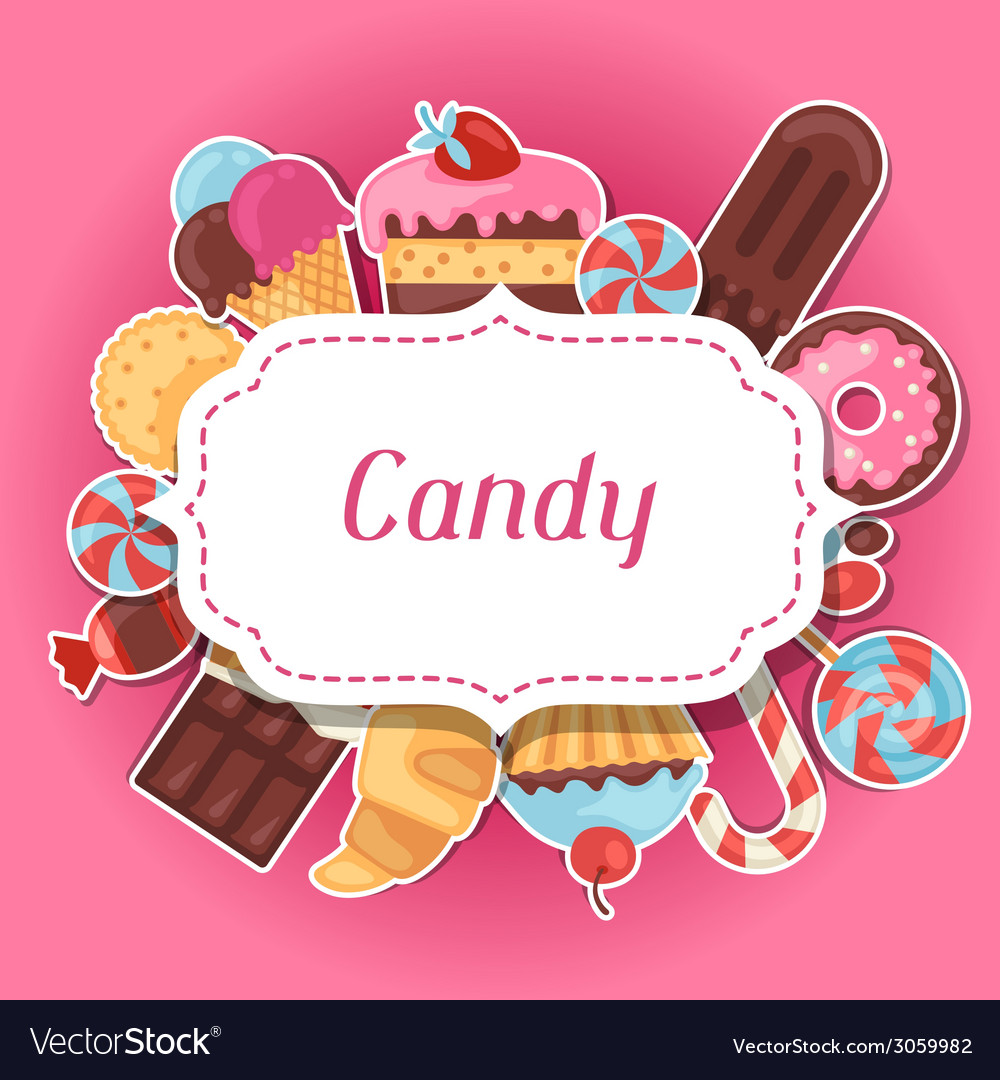 Background with colorful sticker candy sweets and