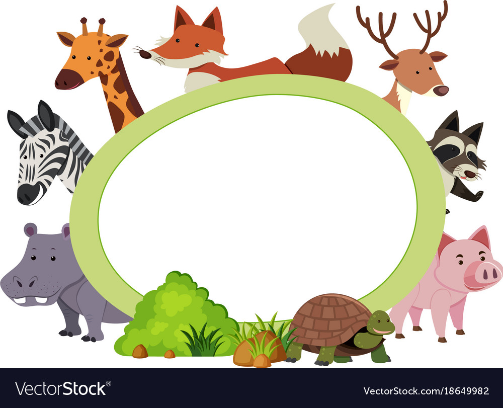 Border Template With Cute Animals Royalty Free Vector Image