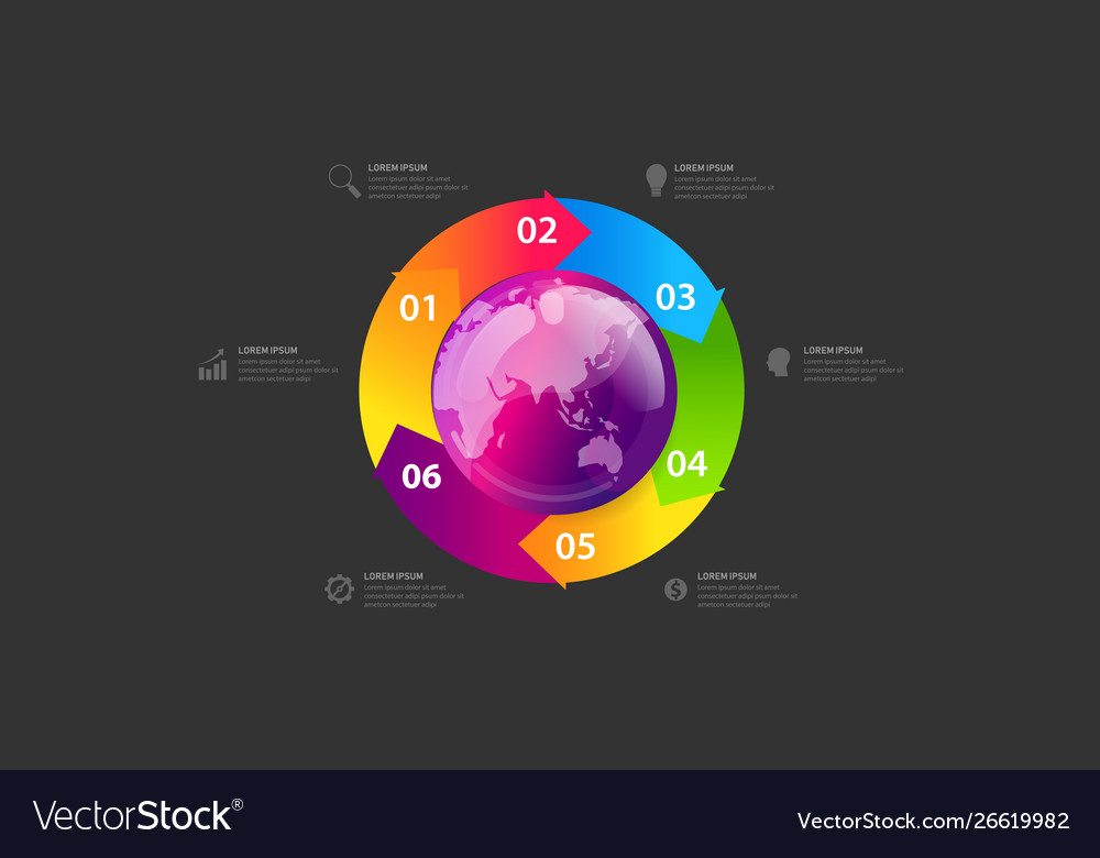 Business global infographic banner globe map