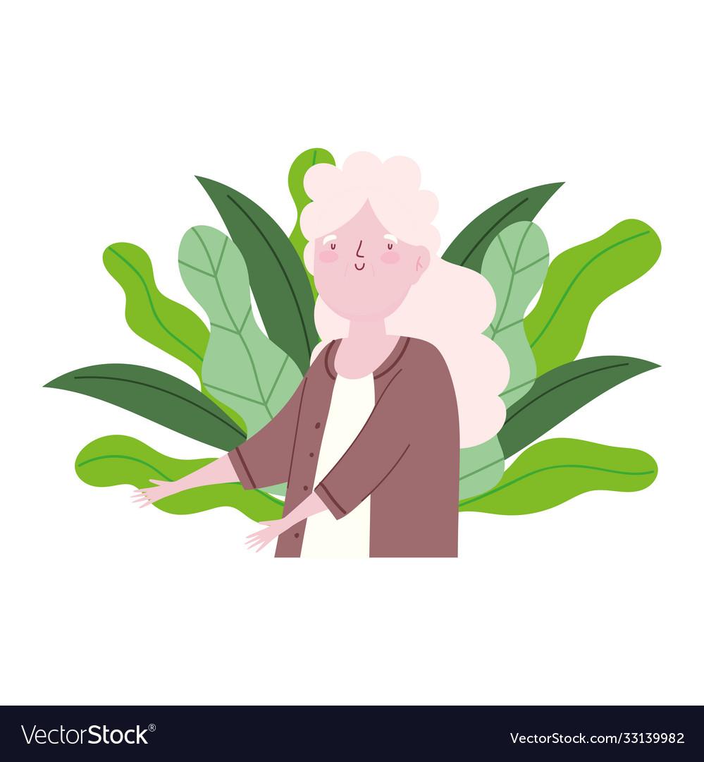 Cartoon grandmother long hair old woman character