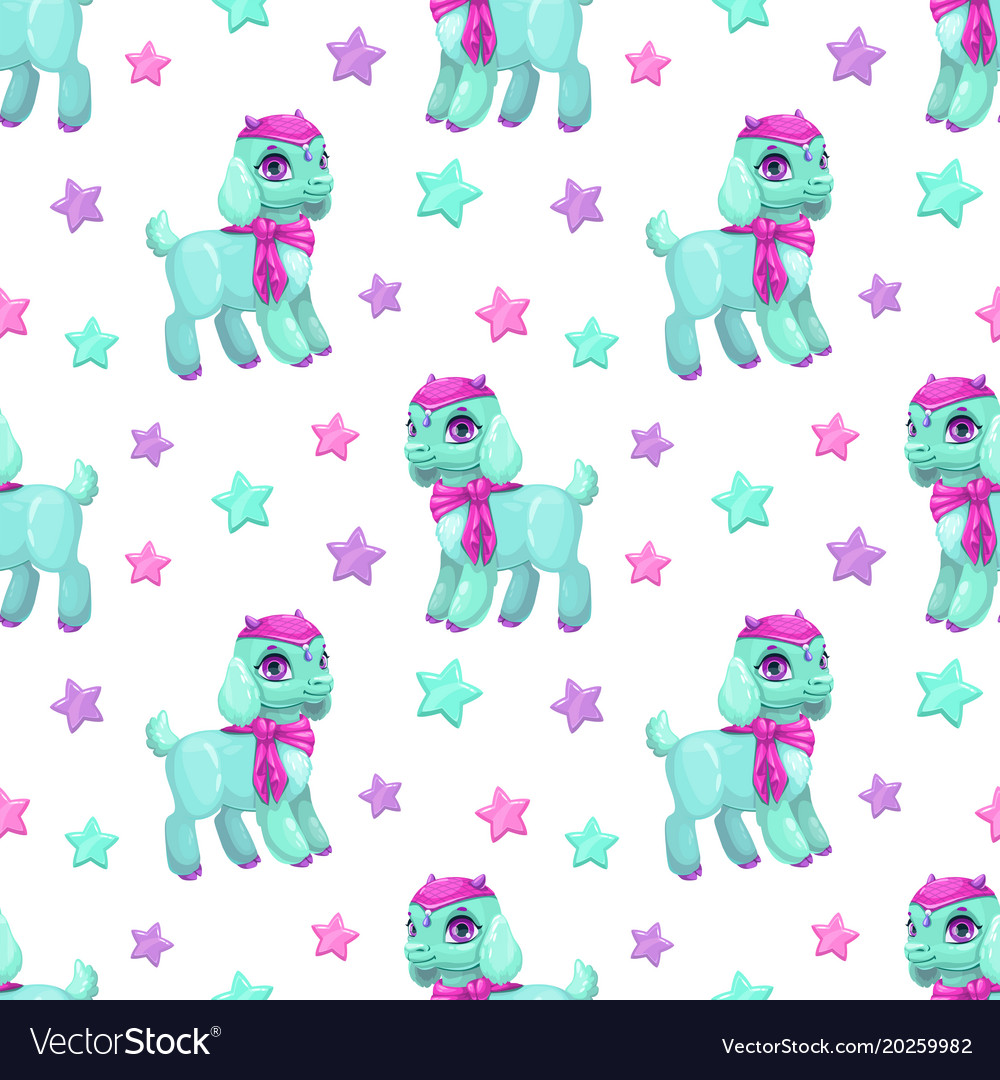 Cute girlish seamless pattern with pretty little
