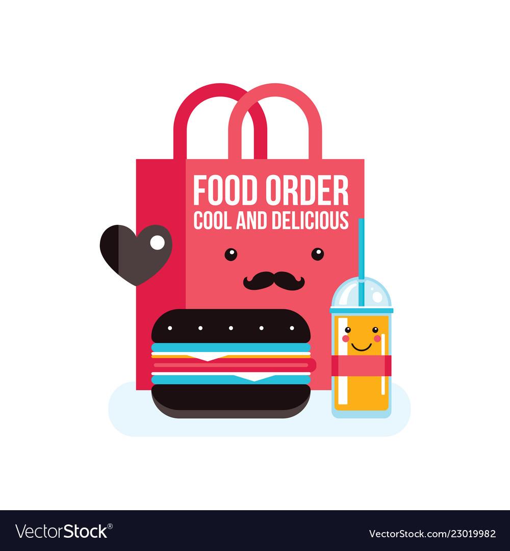 Delicious hamburger juice and bag food order