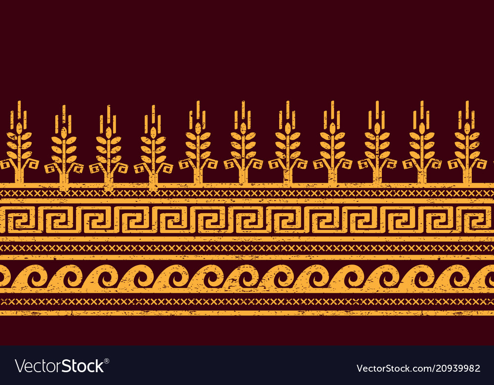 Ethnic seamless pattern wheat meander and water vector image