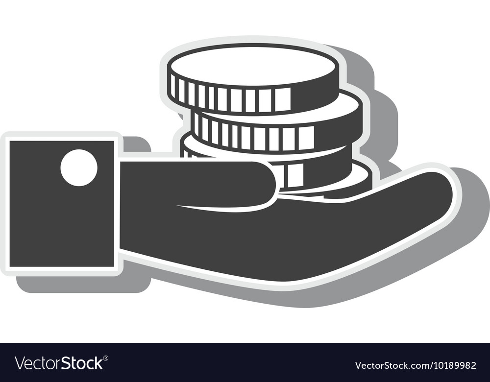 Hand coin money finance economy graphic vector image