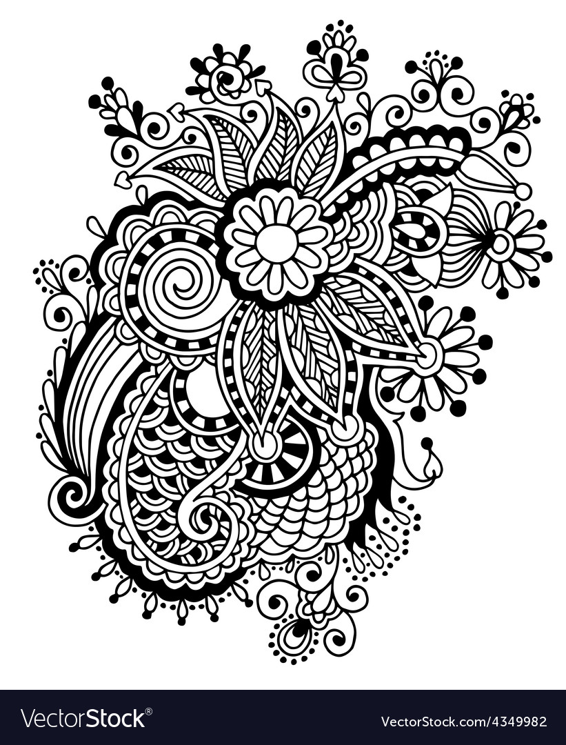Hand draw black and white line art ornate flower vector image mightylinksfo