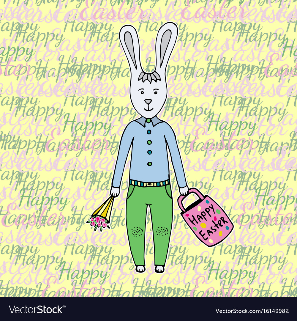 Happy easter day greeting card with cute easter