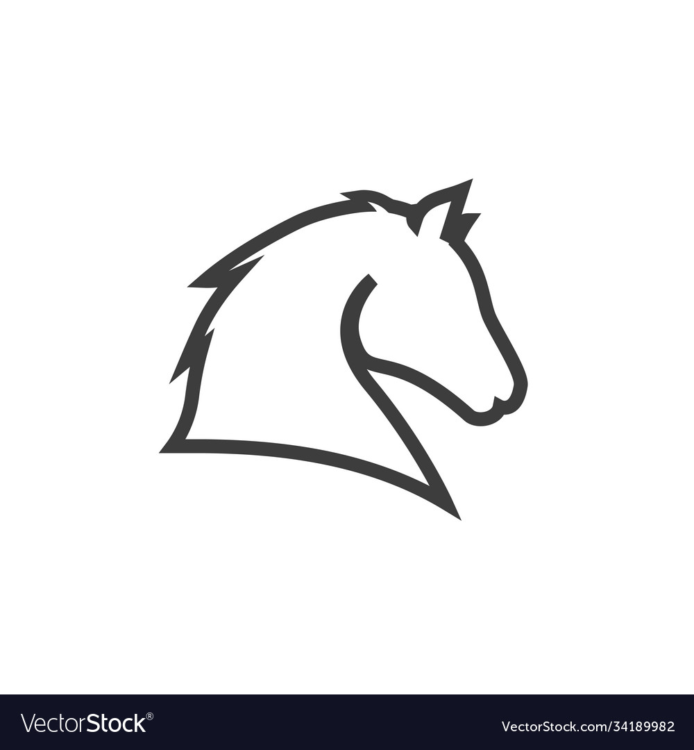Horse head line icon images