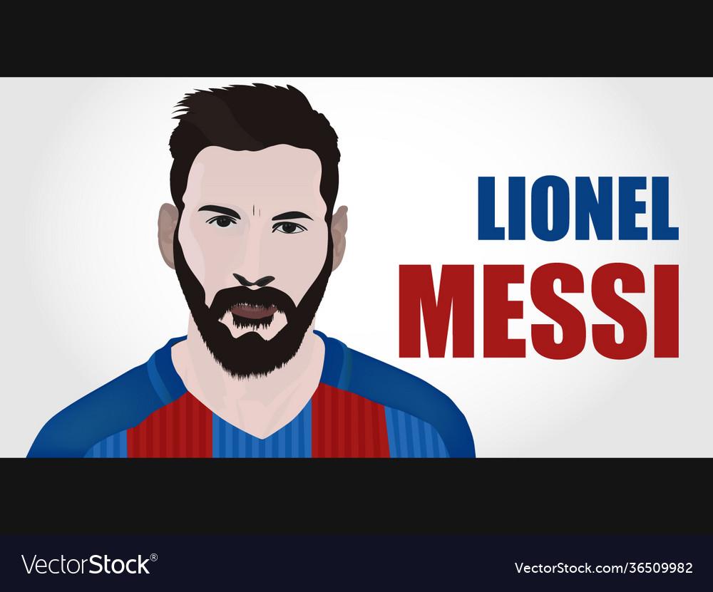 Lionel Messi Portrait Cartoon Royalty Free Vector Image