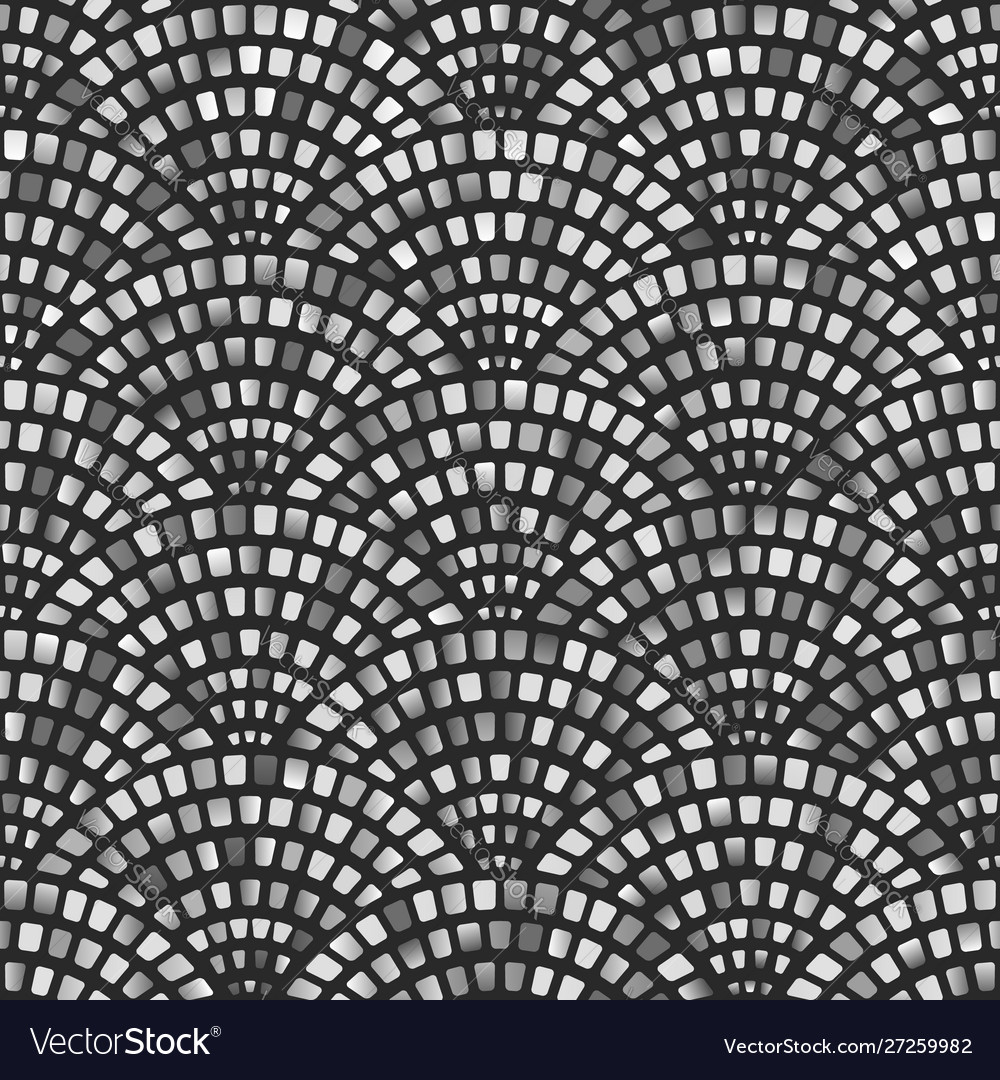 Monochrome mosaic arched fish scale seamless