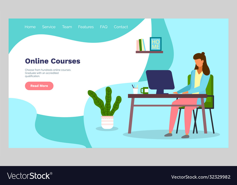 Online courses concept with character flat vector
