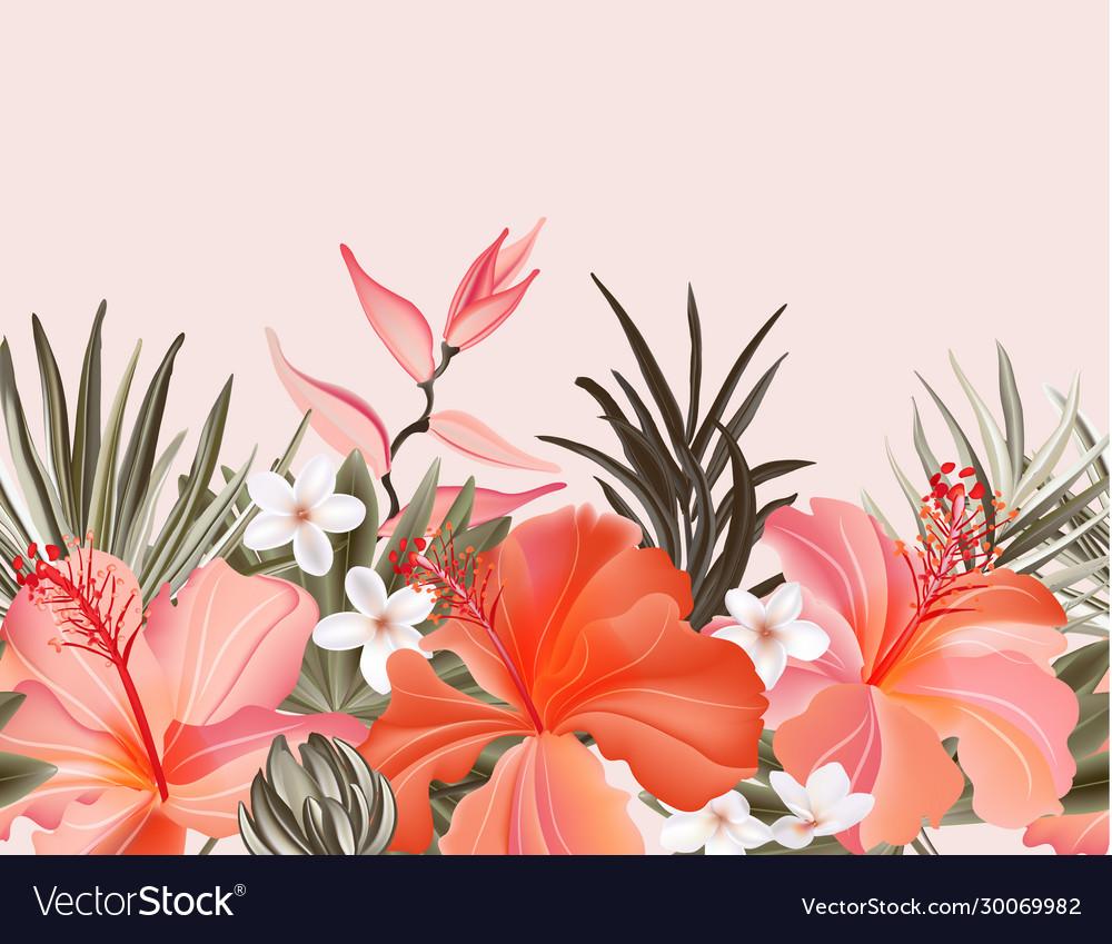 Tropical hibiscus plumeria vintage graphic floral