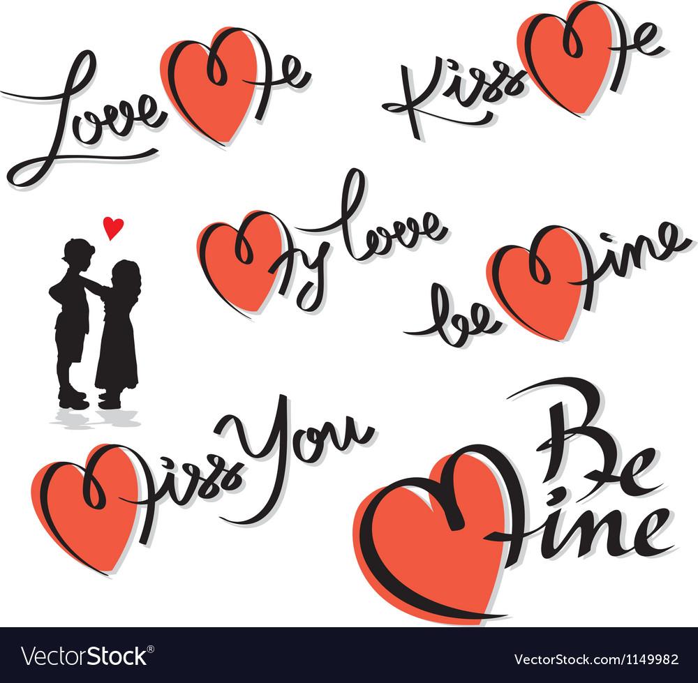 Valentine hand lettering set