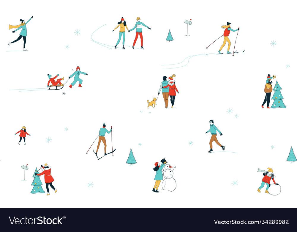 Winter sport activities seamless pattern