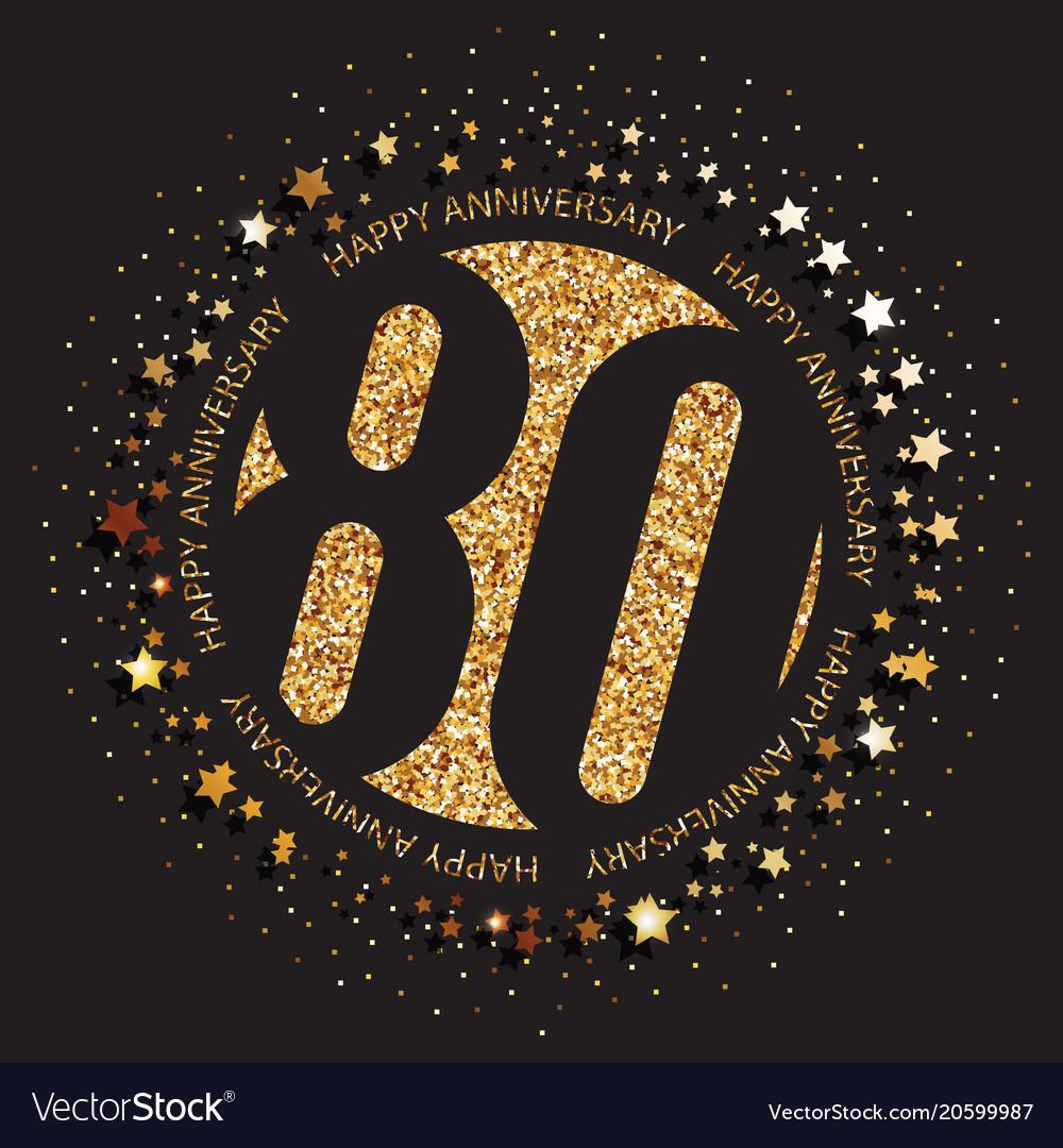 80th Birthday Logo Vector Image