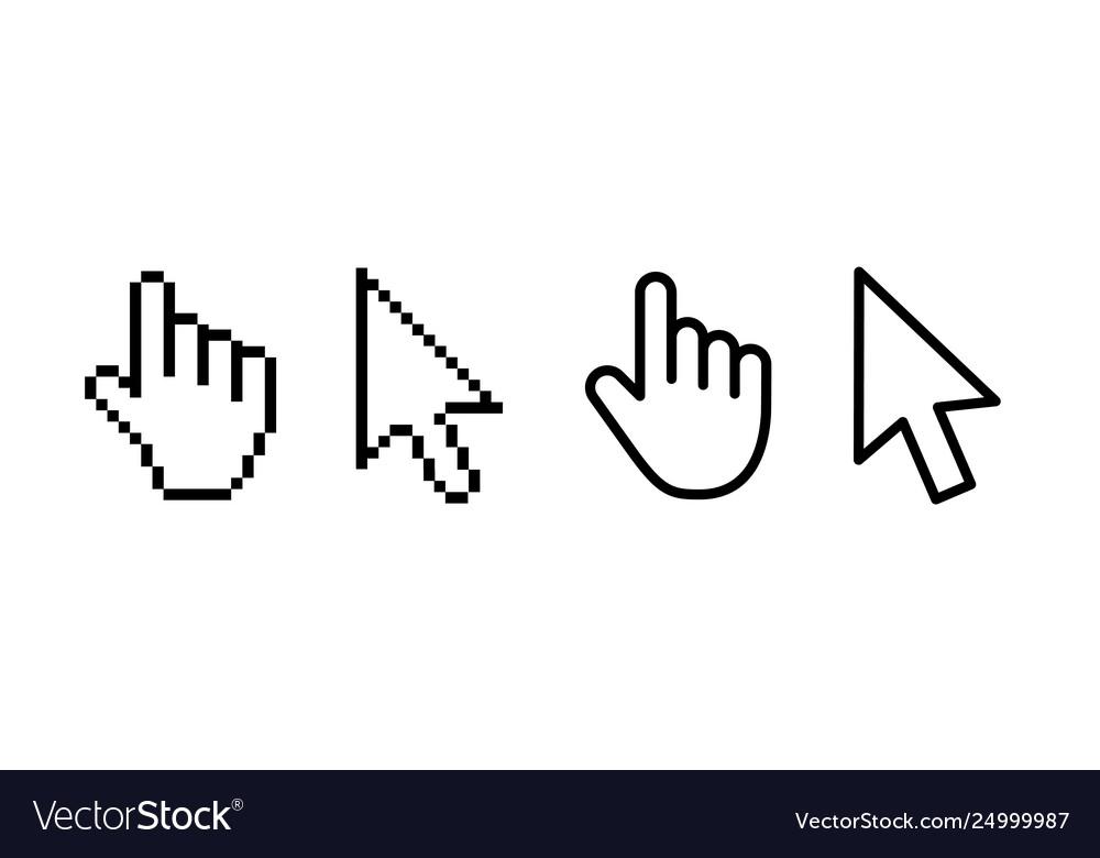 Computer mouse click cursor gray arrow icons set