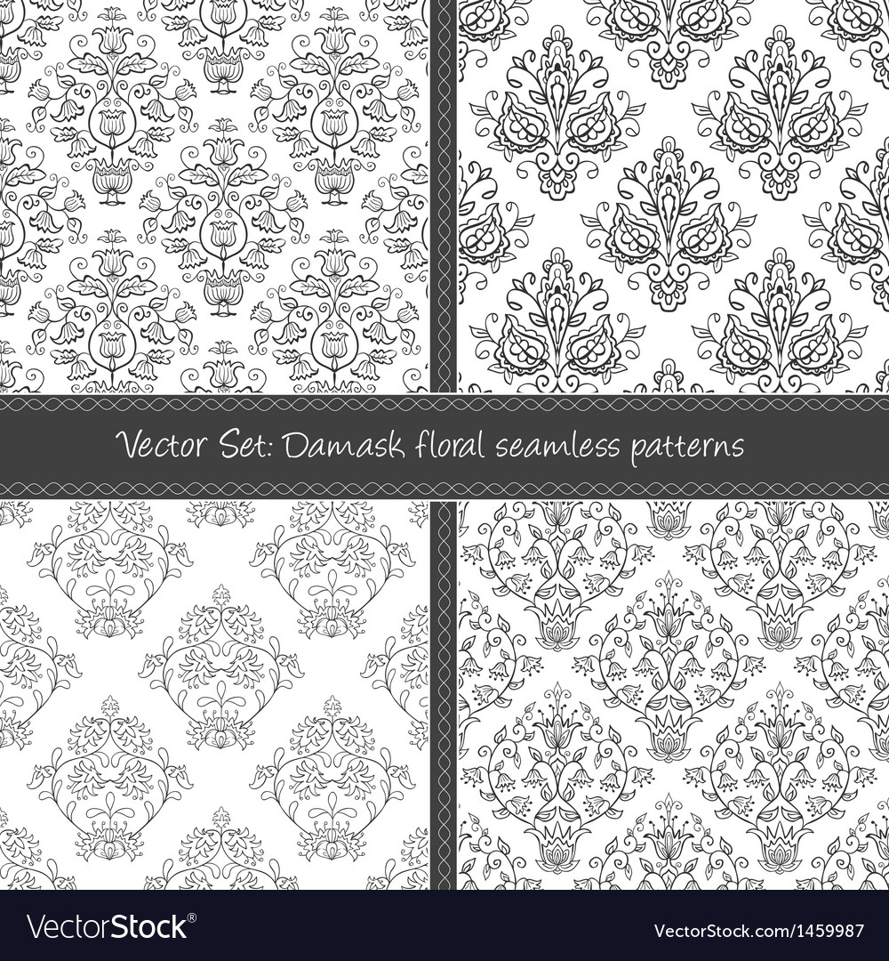 Damask floral textile pattern