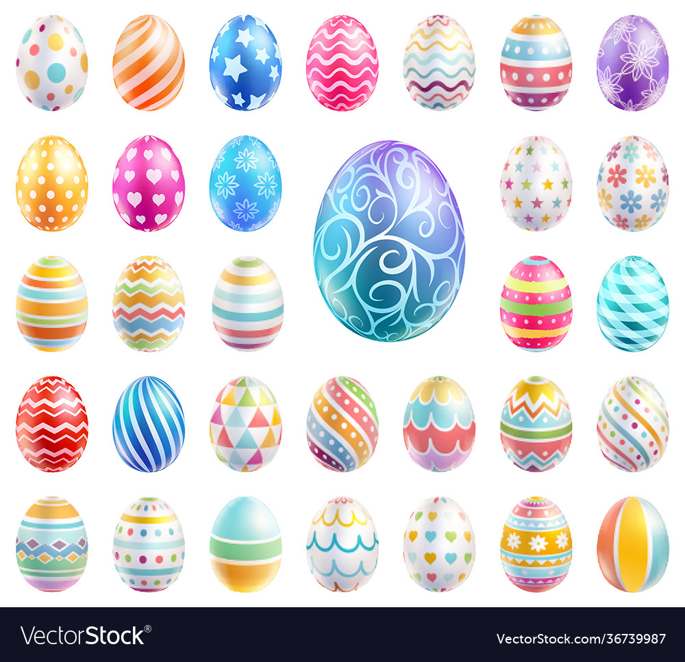 Easter eggs set color with different and patterns