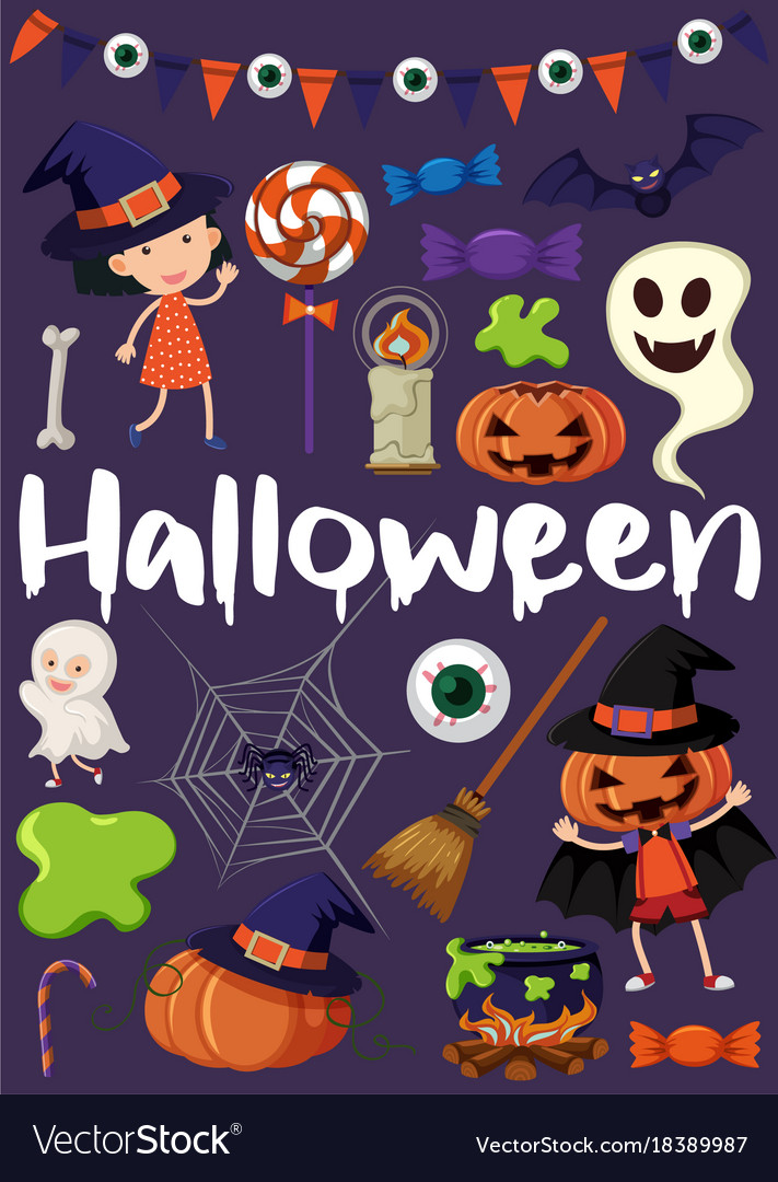 Halloween Poster Art.Halloween Poster With Kids In Costumes