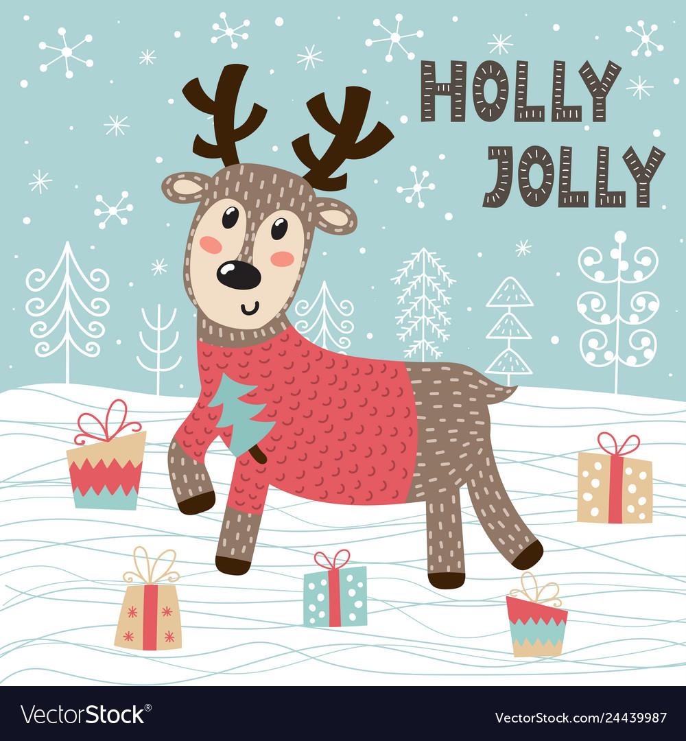 Holly jolly christmas greeting card with a cute de