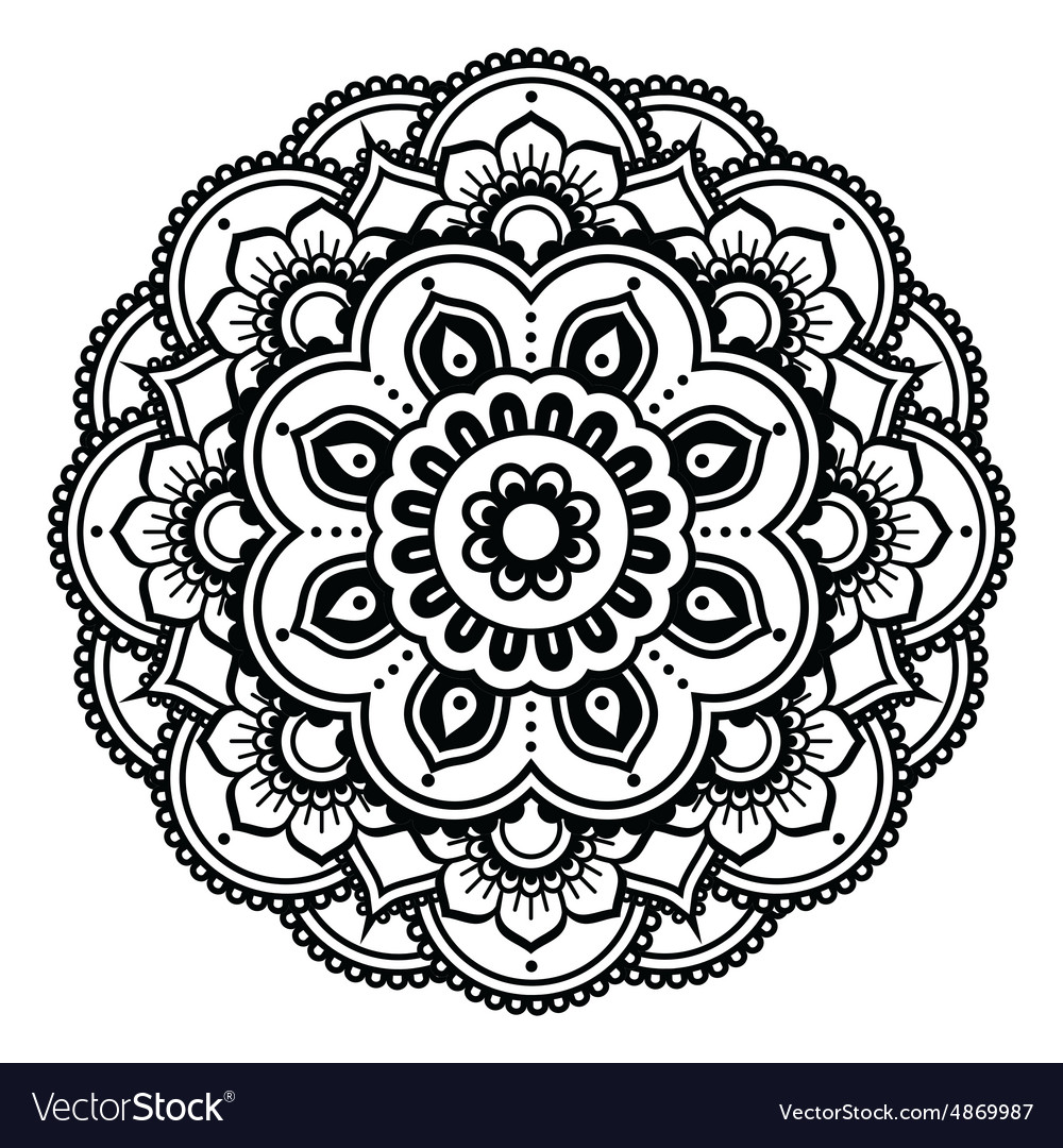 Indian Henna Tattoo Pattern Or Background Vector Image