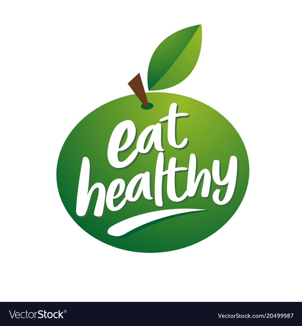 Logo green apple for a healthy diet