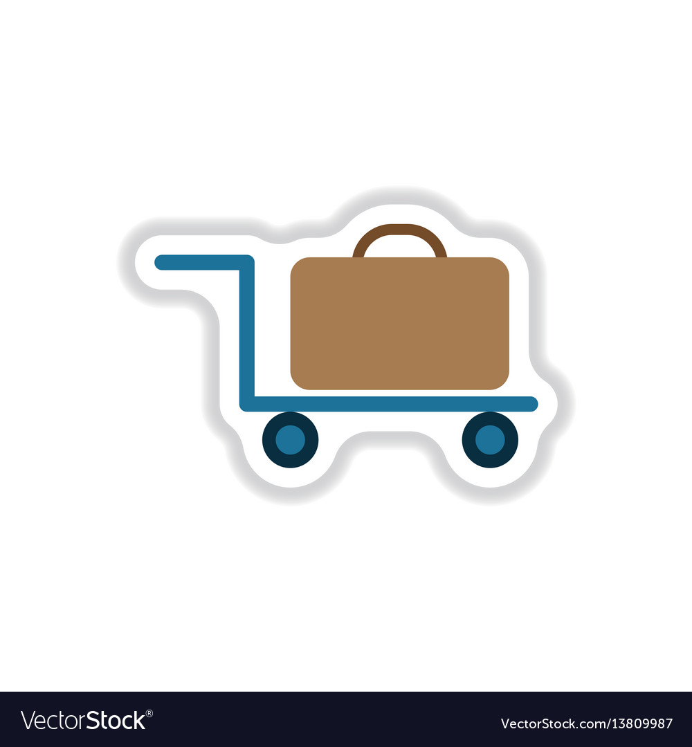 Paper sticker on white background suitcase on