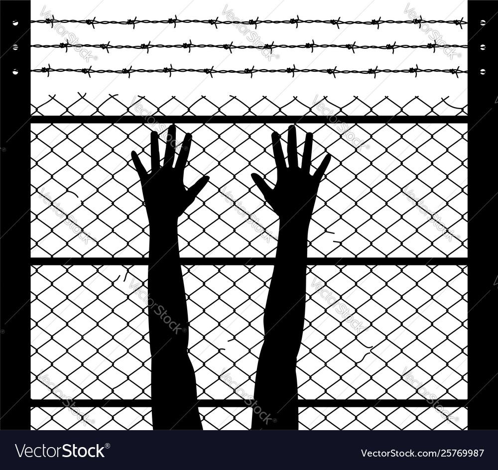 Raised hands and barbed wire prison boundary